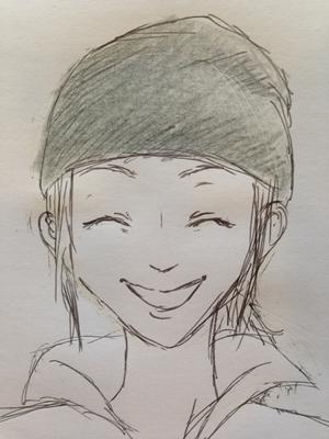 ニット帽のかぶり方(逆三角)