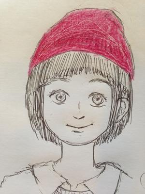 ニット帽のかぶり方(丸顔)