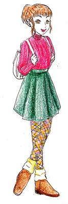 レッグウォーマーとスカートののコーデ